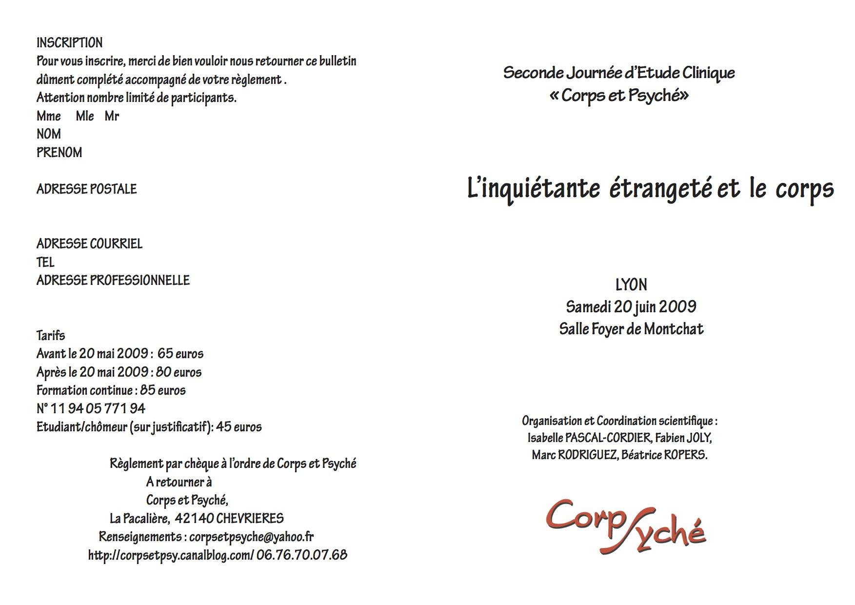 Lyon 2009 L Inquietante Etrangete Et Le Corps Corps Et Psyche